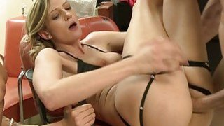 Skinny blonde girl pounded in the salon image