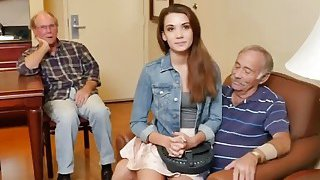 Naughty Old Guys Talk Naive College Girl Into Intense Sex On Bed image