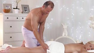 Nela Angel Takes Masseur Long Dong In Shaved Cunt image