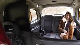 Lesbians rubbing pussies in fake taxi image