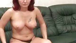 Horny handicap man licks lusty big tit redhead MILF's pussy_and gets nice blowjob image