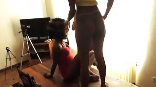 Image: African babes sharing long white dong by banging