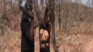 Image: Rough deepthroat and nipple torment with busty African slut
