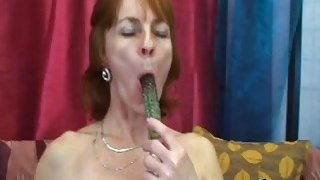 Slutty mature woman Ivet plays with a sex toy before blows hard cock and gets banged image