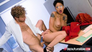Honey Gold gets her glasses glazed with cum on the first day at work image