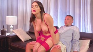 Valentina Nappi is sexy pink outfit rides Keiran's cock image