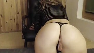 Skinny Horny Blonde Teasing Her Fans By_Showing Her Perfect Ass On Cam image
