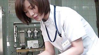 Subtitles CFNM Japanese female doctor handjob image