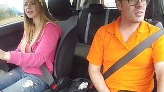 Image: Natural busty babe bangs in driving school car