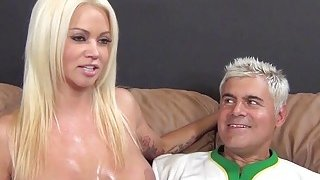 Huge boobed Nikita Von James gets cum on tits after BJ and titjob image