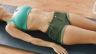 Yoga exercise with brunette gals by busty yoga trainer image
