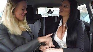 Lesbian_sex_in_fake_driving_school_car image