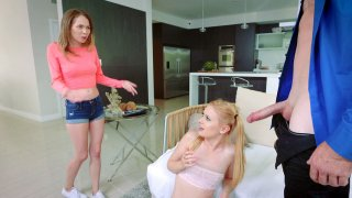 Angel Smalls and Kennedy Kressler suck cock and lick balls image