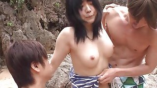 Subtitles uncensored JAV threesome at the beach image