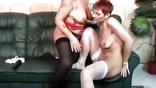 Horny lesbian grannies dildo fucking on couch image