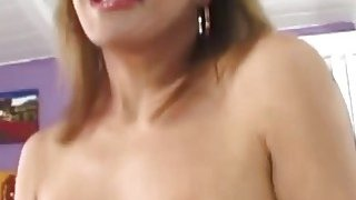 Big tit brunette mature slut rubs her pussy and gets fucked by horny lover image