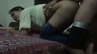 Pakistani chick sucks dick before getting doggy styled in bed image