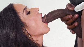 Tia Cyrus is sucking the huge black boner in the kitchen image