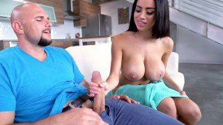 Image: Victoria June caught Jmac jerking off on her and gave him blowjob