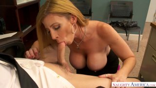 Cоugаr works her pussy in the office in the work-off day image