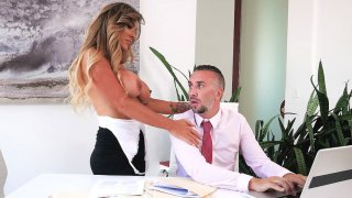 Aubrey Black gets her throat and big boobs fucked by Keiran image