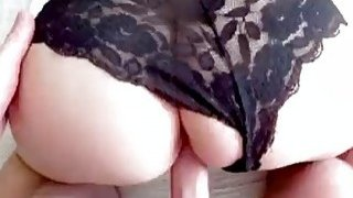 Sleeping brunette has panties_pulled aside for the homemade_clip image