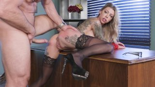 Karma Rx in stockings and high heels gets fucked on_the desk image