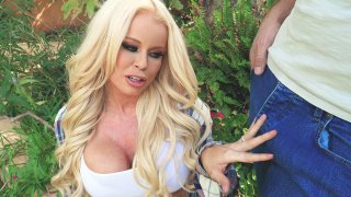 Latina Nikki Delano gets mouth fucked by big cock outdoors image