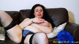 Image: EuropeMaturE Busty Mature Lady Solo Masturbation