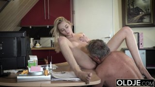 Young Old_porn Martha gives_grandpa a sloppy blow image