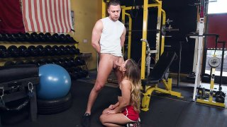 Image: Teen Cleo Vixen sucking the big cock in the gym