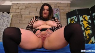 risireturns beautiful girl put her tongue in her pussy Porn video - Big tit fat girl nova jade plays with her pussy before sucking_cock_and fucking image