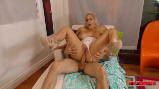 Blonde PAWG pornstar craves for hardcore ass fucking with stud image