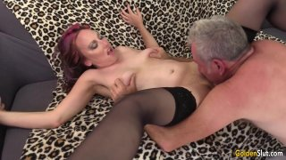 Image: Older Floozy Zoe Matthews Has a Thick Cock Pushed in Her Mouth and Cunt