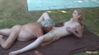 Image: Old yogin seduced by young blonde student