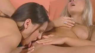 Image: Carmen Luvana and her brunette friend lick each other's pussies