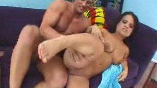 Image: Two midgets take turns riding bold stud's big hard cock