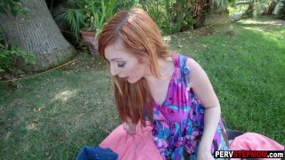 Redhead MILF stepmom got fucked at a backyard picnic image