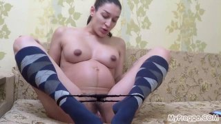 Preggo Janetta Takes Selfies and Fingers Her Pussy image