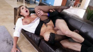 Aubrey Black in sexy black stockings gets pussy pounded image