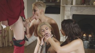 Bonnie Rotten, Ivy Lebelle and Ryan Keely suck the big cock image