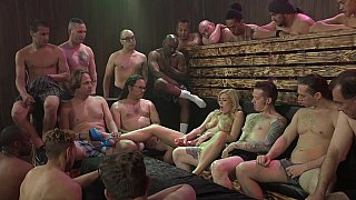 Over 25 cocks for a horny blonde image