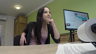POV pussy pounding with a teen brunette image