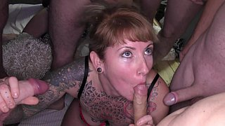 Tatted-up Euro sluts get gang-banged image