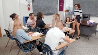 Adriana Chechik and Kimmy Granger suck dildo in the classroom image