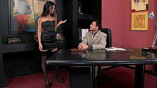Brunette enjoys hot office sex image