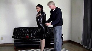 Image: Latex bondage video with a brunette