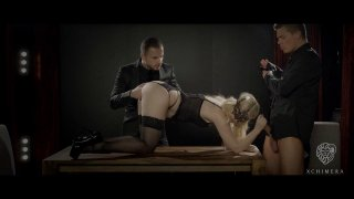 Euro babe in lingerie fucks with two_hardcore dominant guys image