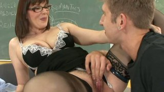 Blond dude hammering his old teacher Tina Tyler on a table image