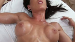 Amazing latina girl Capri Cavali gets her tits oiled and fucks image